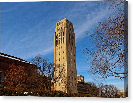 Central Michigan University Canvas Print - Burton Memorial Tower by Rachel Cohen