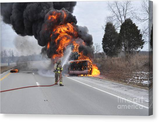Bus Fire Canvas Print by Steven Townsend