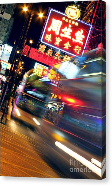 Hong Kong Canvas Print - Bus Race In Mong Kok by Lars Ruecker