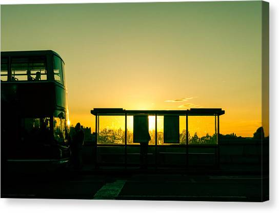 Bus Stop At Sunset Canvas Print