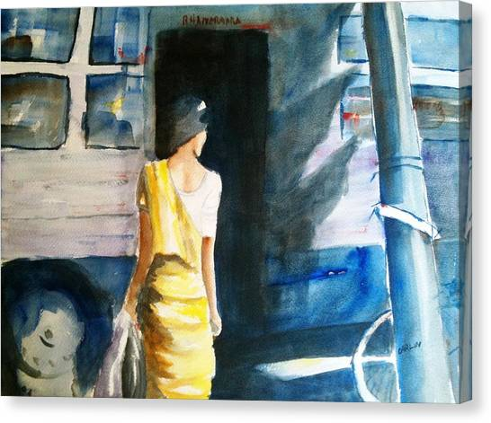 Bus Stop - Woman Boarding The Bus Canvas Print