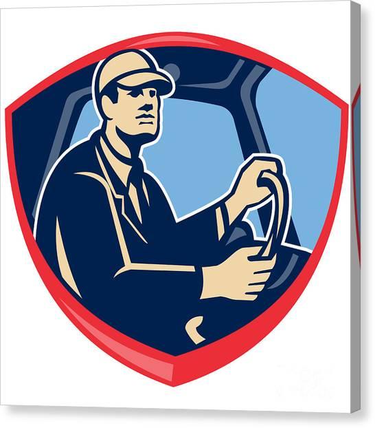 Truck Driver Canvas Print - Bus Truck Driver Side Shield by Aloysius Patrimonio
