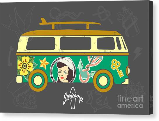 Surfboard Canvas Print - Bus With Surfboard by Naches