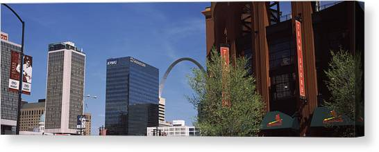 St. Louis Cardinals Canvas Print - Busch Stadium And Gateway Arch In St by Panoramic Images