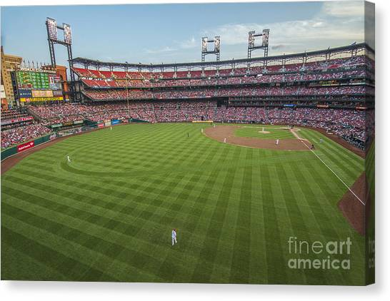 St. Louis Blues Canvas Print - Busch Stadium Cardinals 3 by David Haskett II