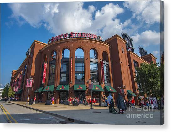 Busch Stadium Clouds Canvas Print