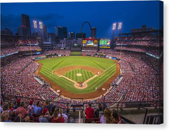 Cardinal Canvas Print - Busch Stadium St. Louis Cardinals Night Game by David Haskett II