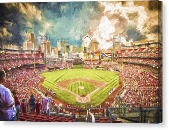 Busch Stadium St. Louis Cardinals Day Paint Canvas Print