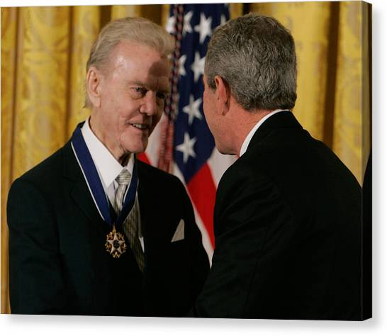 Bush Honors Presidential Medal Of Freedom Recipients Canvas Print by Mark Wilson