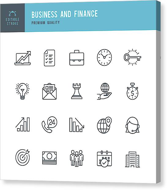 Business And Finance  - Thin Line Icon Set Canvas Print by Fonikum