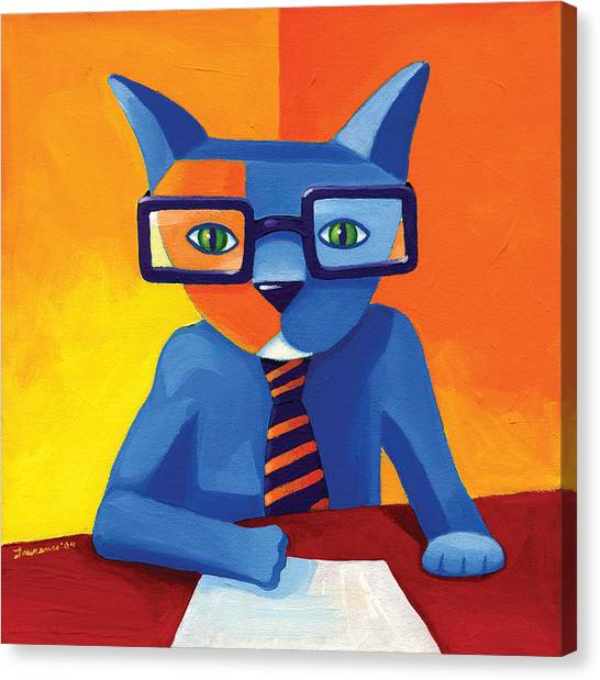 Cat Canvas Print - Business Cat by Mike Lawrence