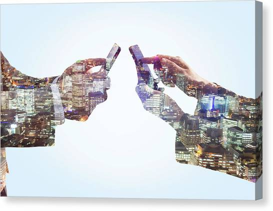 Business Man And Woman Using Smart Canvas Print by Tim Robberts