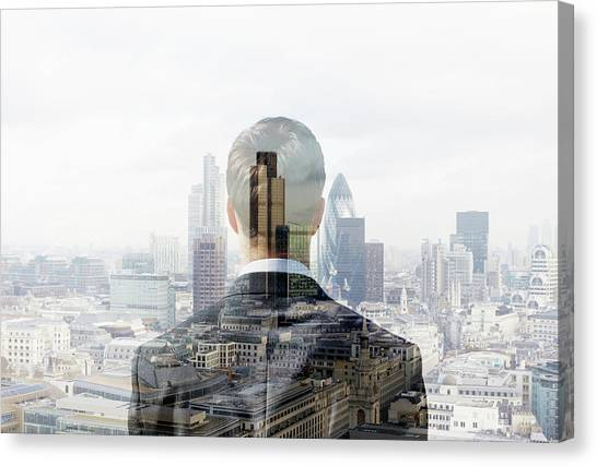 Business Man Looking Towards The City Canvas Print by Tim Robberts