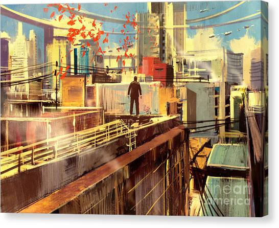 Concept Canvas Print - Business Man Standing On The Rooftop Of by Tithi Luadthong