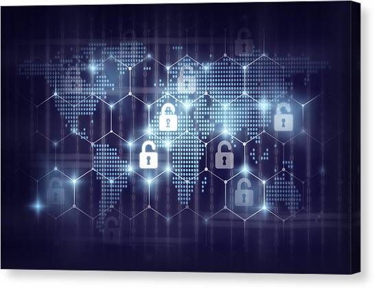 business technology securities concept,Security key lock icon digital display over the world map and Hexagon shape on matrix digital number technology and dark blue background Canvas Print by Photographer is my life.