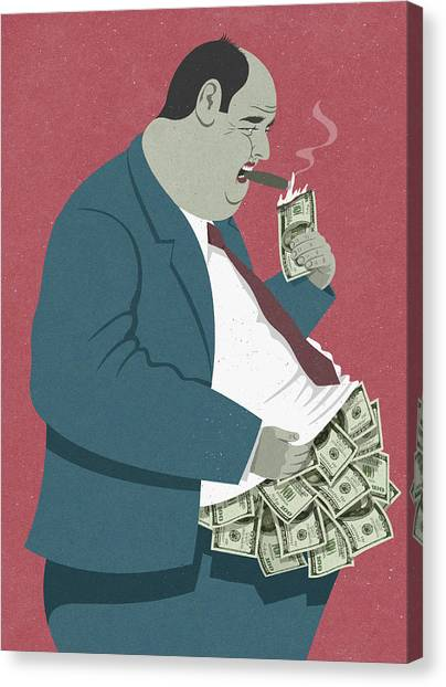 Stuffing Canvas Print - Businessman Lighting Cigar With Burning by Ikon Ikon Images
