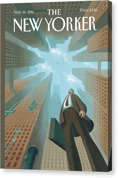 Businessman Looks Up At Tall Skyscrapers Canvas Print by Eric Drooker