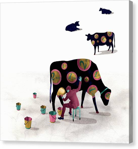 Businessman Milking Cash Cow Covered In Canvas Print