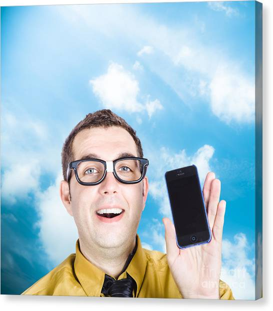 Electronic Instruments Canvas Print - Businessman Showing Blank Smartphone by Jorgo Photography - Wall Art Gallery