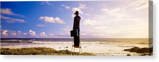 Business-travel Canvas Print - Businessman Standing On A Ladder And by Panoramic Images