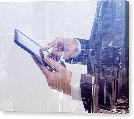 Businessman Using Tablet Pc & Double Canvas Print by Hocus-focus