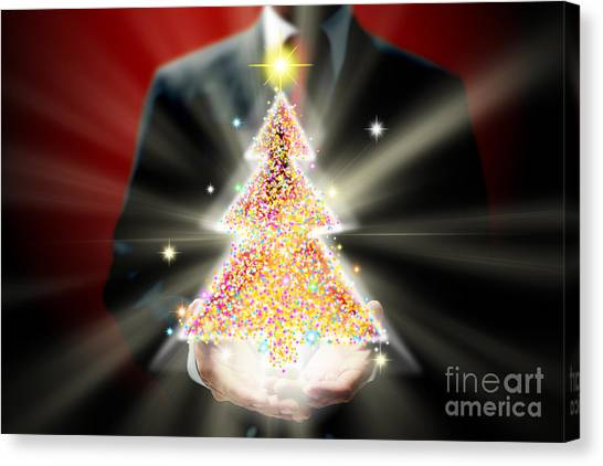 Workers Canvas Print - Businessman With Christmas by Atiketta Sangasaeng