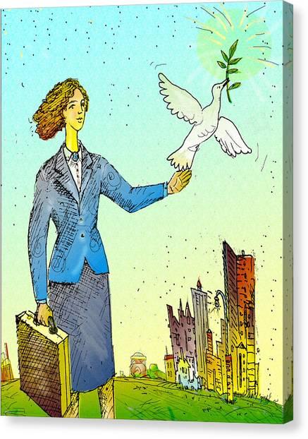 Businesswoman & Dove Canvas Print by Vasily Kafanov