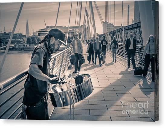 Busker Playing Steel Band Drum Steelpan In London Canvas Print