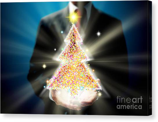 Workers Canvas Print - Bussinessman With Christmas by Atiketta Sangasaeng