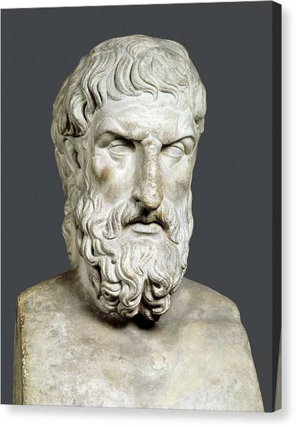 Hellenistic Art Canvas Print - Bust Of Epicurus. 1st Half 4th Bc by Everett