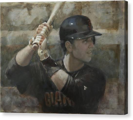 San Francisco Giants Canvas Print - Buster Training by Darren Kerr