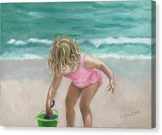 Busy Beach Girl Canvas Print