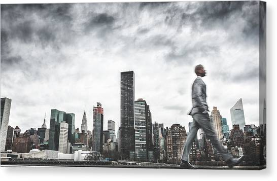 Busy Business Walking Fast On New York Canvas Print by Franckreporter