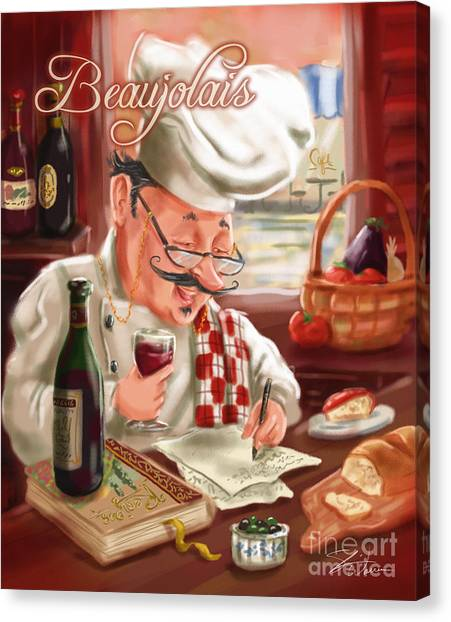 Busy Chef With Beaujolais Canvas Print