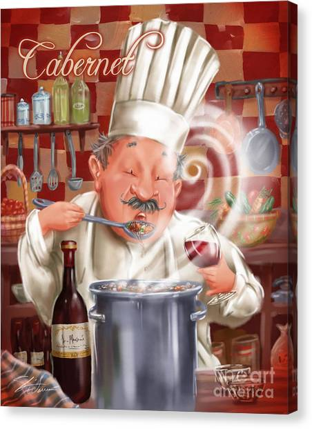 Busy Chef With Cabernet Canvas Print