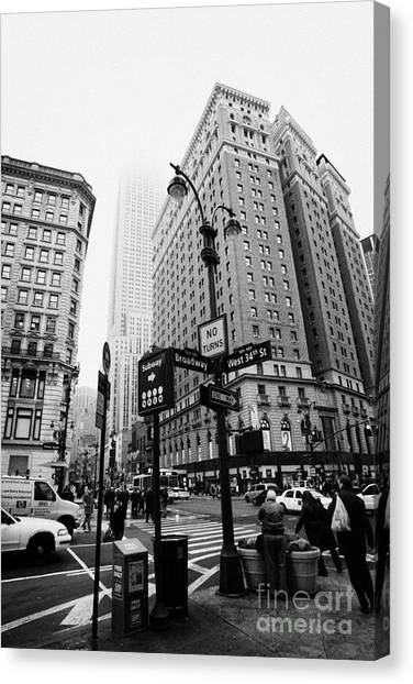 Manhatan Canvas Print - Busy Traffic Junction Of West 34th Street St And Broadway With Empire State Building Shrouded Mist by Joe Fox