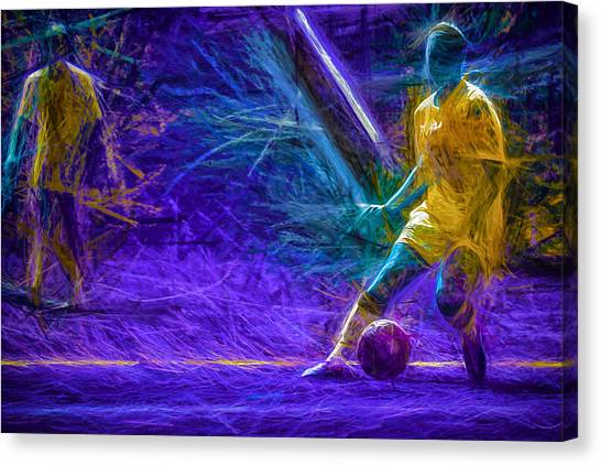 Indiana University Iu Canvas Print - Butler University Soccer Athlete Caroline Kowal Digitally Painted 2 by David Haskett