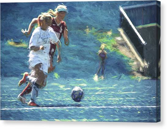 Indiana University Iu Canvas Print - Butler University Soccer Athlete Sophia Maccagnone Painted Digitally by David Haskett II