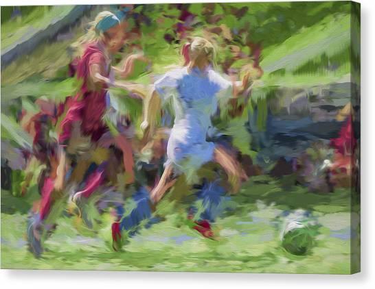 Indiana University Iu Canvas Print - Butler University Soccer Athletesophie Maccagnone Painted Digitally 3 by David Haskett II