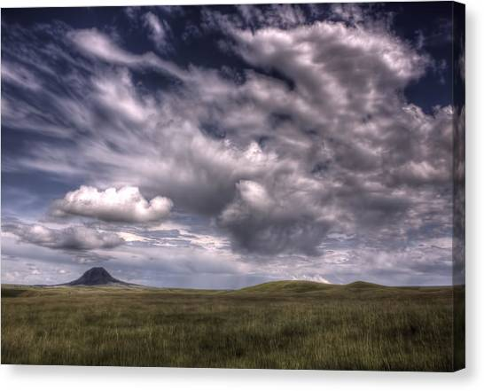 Butte In The Shadows Canvas Print