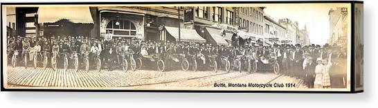Butte Motorcycle Club 1914 Sepia Tone Canvas Print