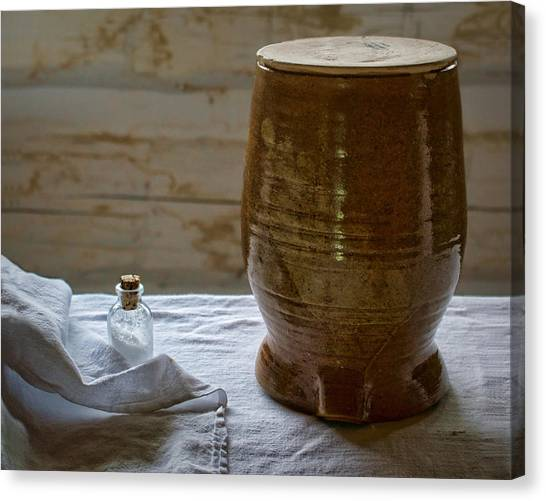 Crock Canvas Print - Butter Makers Crock And Salt by Nikolyn McDonald