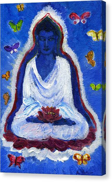 Butterflies Dream Of Buddha Canvas Print