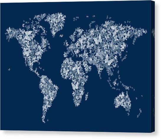 Navy Blue Canvas Print - Butterflies Map Of The World Map by Michael Tompsett