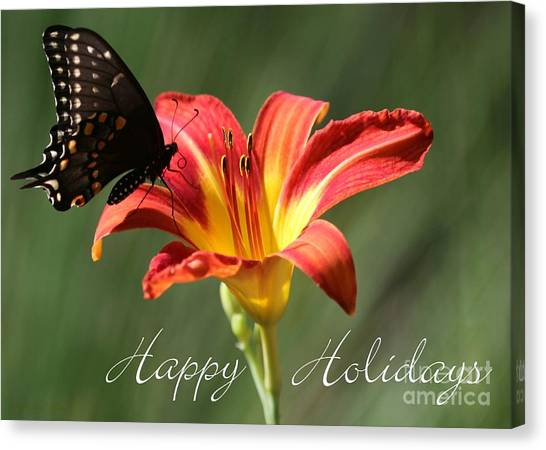 Butterfly And Lily Holiday Card Canvas Print