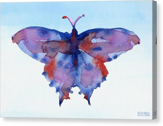Laundry Canvas Print - Butterfly Blue And Red Watercolor Painting by Beverly Brown Prints