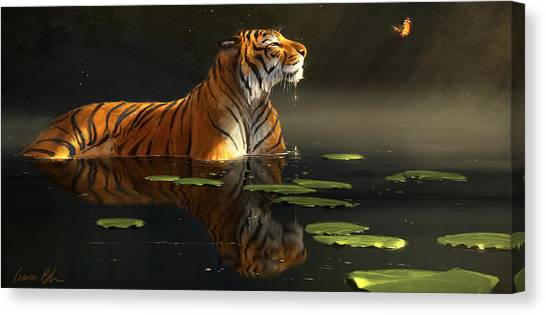 Tigers Canvas Print - Butterfly Contemplation by Aaron Blaise