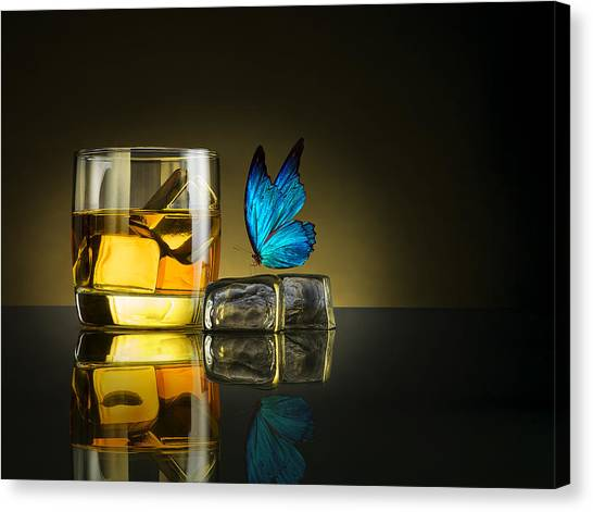 Whiskey Canvas Print - Butterfly Drink by Jackson Carvalho