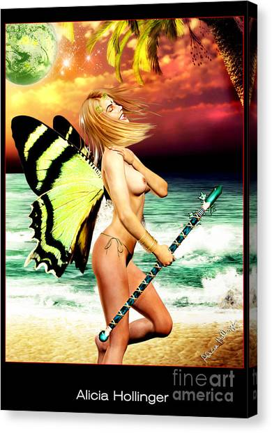 Butterfly Fairy On The Beach Topless Canvas Print