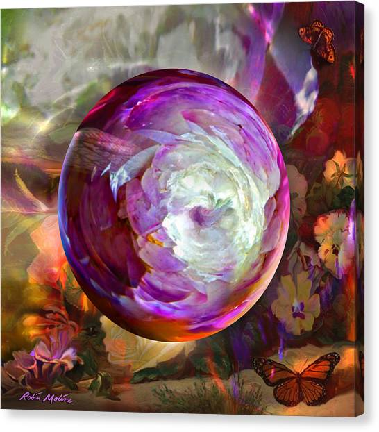 Etherial Canvas Print - Butterfly Garden Globe by Robin Moline